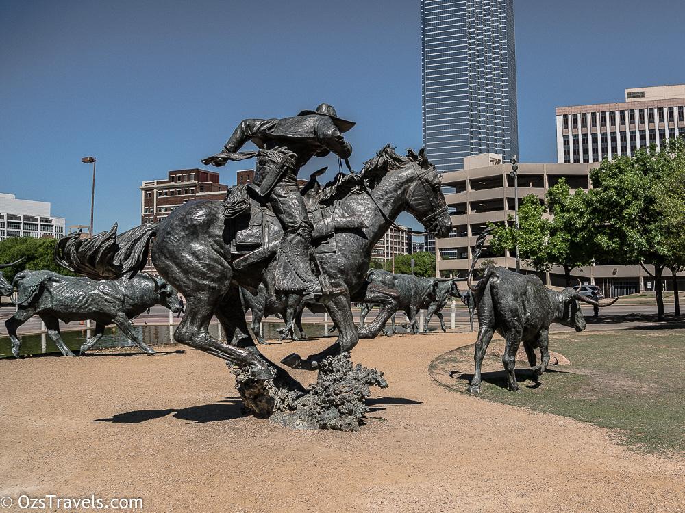 Dallas Texas, Pioneer Plaza, Shawnee Trail Cattle Drive Sculpture, Cattle Drive Sculpture, Robert Summers